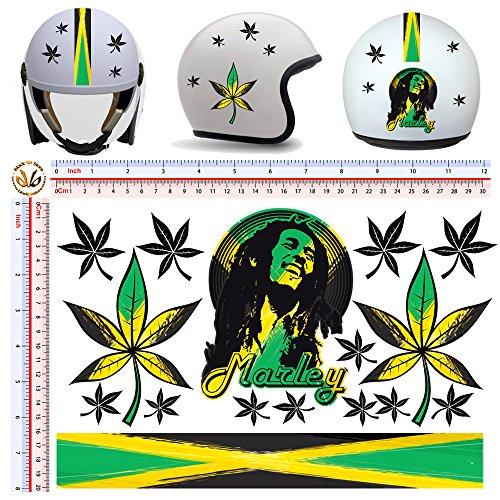 Black Bit - adesivi casco bob marley jamaica flag sticker helemet auto moto 16 pz.