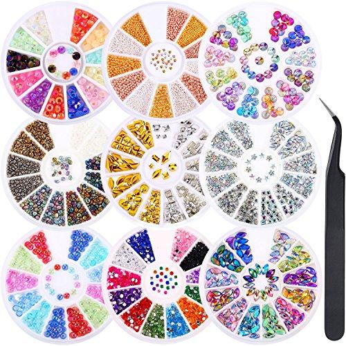 9 scatole nail art strass set con strass unghie a bottone strass perle artificiali pietre irregolari in acciaio palle di cavallo occhi strass e pinzetta