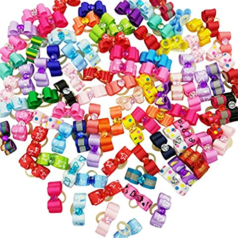 Hixixi 50pcs/pack Pet Cat Dog Hair Bows Mini Size 3D Topknot With Rubber Bands Puppy Hair Accessories for Small Dog