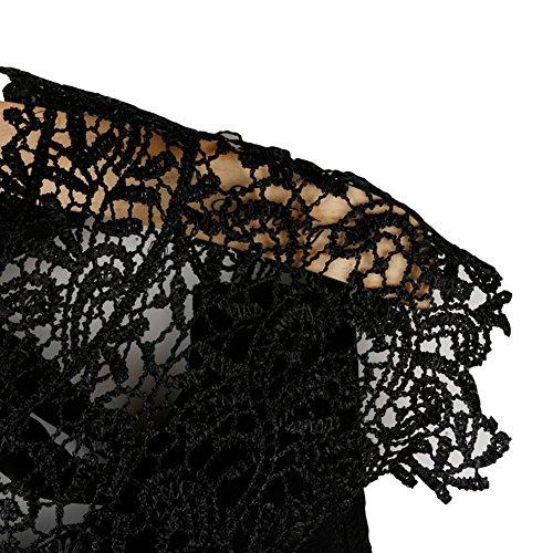 Femmes Haut Dentelle Débardeurs Sans Manches En Mousseline De Soie Chemises Blouse Noir