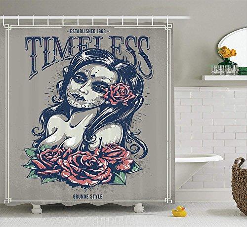 Soefipok collezione di teschi decorativi, day of deadragazza con tatuaggi sulla sua faccia rose lady strega donna timeless sign art, tessuto in poliestere bagno doccia cortina, grigio nero