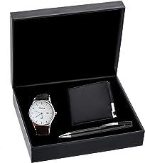 Uhren, Herrenuhren,KUXIEN Herren Geschenkset mit Armbanduhr, Geschenkbox mit Herren Armbanduhr, Geldbörse, Unterschrift Stift für Valentinstag,Weihnachten,Geburtstag Geschenk,Jahrestag Geschenk