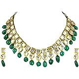 Shining Diva Fashion Green Kundan Stylish Wedding Traditional Necklace Jewellery Set for Women (9788s)