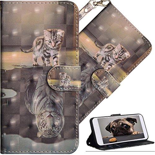 COTDINFOR Huawei Y6 2018 Hülle für Geschenk Lederhülle 3D-Effekt Painted Kartenfächer Schutzhülle Protective Handy Tasche Schale Standfunktion Etui für Huawei Y6 2018 Cat Tiger YX.