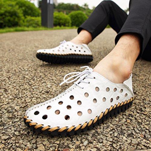 YiLianDa Herren Komfort Leder Weich Echtleder Fahren Schuhe Weiß