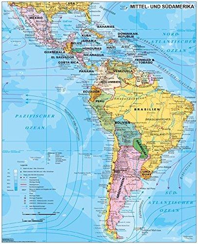 Mittel- und Südamerika politisch - Wandkarte / Poster