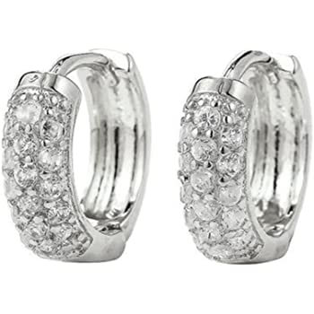 9922888f9 2 Pairs Iced Crystal White Gold Silver Tone Hoop Round Huggy Ear Stud  Earrings Girls Men Womens