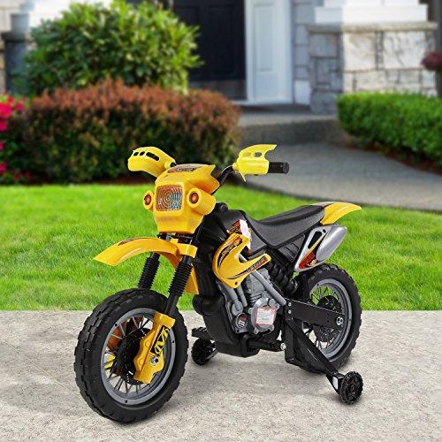 homcom Moto Cross Elettrica per Bambini con Rotelle Giallo