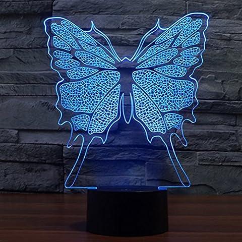 3d illusione lampada jawell luce notturna farfalla 7Cambiare colore Touch USB tavolo regalo giocattoli