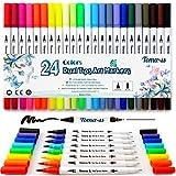 Bullet Gazzetta 24PCS pennarelli, punta 0.4mm pennarelli Dual Brush Art Marker fineliner, water color disegno penne