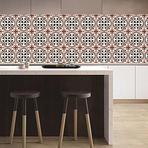 Adhésif décoratif - Autocollant carrelage| Stickers carreau ciment - Rénover mural de salle de bain et cuisine | Facile à appliquer et repositionable | Design Classique | 20x20 cm (20 piéces),DT032 ,