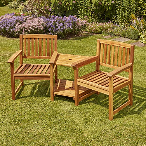 Garden Gear Acacia Hardwood Love Seat, 2 Shelf Table, Water Resistant, Outdoor Furniture for Garden Patio & Decking