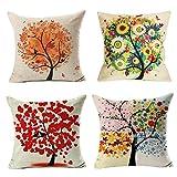 4 Pack Colorido Otoño Flor Árbol de Algodón de Lino Throw Pillow
