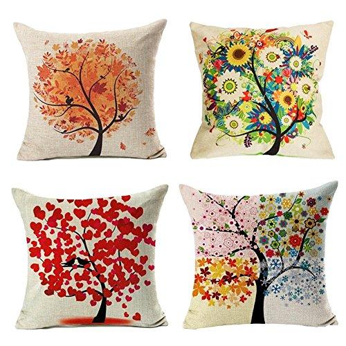 4 Pack Colorido Otoño Flor Árbol de Algodón de Lino Throw Pillow...