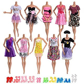 Asiv Clothes & Shoes For barbie doll, Fashion 10pcs party gown dress + 10 pair of shoes For Christmas Birthday Gift