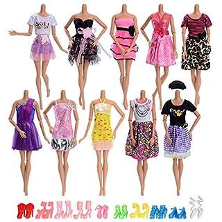 Asiv 10 Stück Hochzeitkleider Abendkleider, 10 Paar High-Heel-Schuhe für Barbie-Puppen Mädchen Geschenk, zufällige Farben