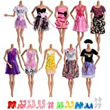 ASIV 5 Ensembles de La main Douce Confortable Lavable Quotidien Casual Wear Vêtements T-Shirt Chemisier avec Pantalons Jeans pour poupées Barbie