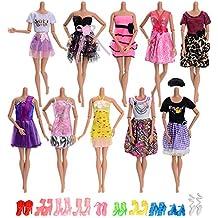 ASIV 10 x Moda Hecha a Mano Falda de fiesta de boda vestido, 10 pares de zapatos accesorios para Muñecas Barbie, estilo aleatorio