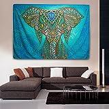 Interlink Wandteppich Mandala Elefant Motiv indisches Tapestry Mandala-Design Strandtuch 146x206cm