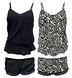 Damen Schwarz Leopard Elastisch Nachtwäsche Unterhemd und Kurze Hose Schlafanzüge/Pyjama Set (44 EU, 2 Pack (A+B))