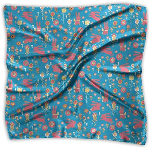 Zcfhike Women Lady Easter Bright Cartoon Animals Bunny Flowers Print Square Kerchief Scarf Head Wrap Neck Satin Shawl