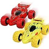 Shayson 2 Unidades de Camiones Monstruo de Fricción, Regalos de Coches de Juguete para Niños Mayores de 3 Años con Rotación d