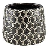 Keramik-Übertopf Blumenübertopf Blumentopf mit Muster in Morrin Bronze - Maße: 12.5 x 15.5 x 15.5 cm