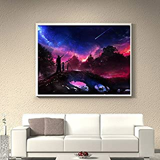 Artistic9 Diamond Painting Kit Full Drill 5D DIY Rhinestone Embroidery Pasted Painting Without Frame for Home Wall Decoration-Overlooking The City Forest Stars 1 Set