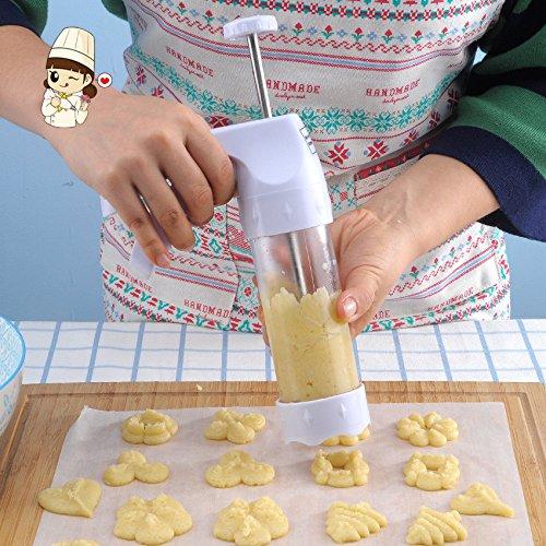 KOONN Backen Cookie Pistole Keks Maschine Puff Kunststoff Tisch Blume Set Ausstecher Form Mund Creme Pistole Backen Werkzeug, C1 Weiß Cookie Pistole Zu Senden Öl Papier 10 Blätter + Pinsel (Blume Papier Puffs)