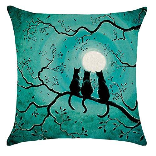 Lumanuby 1 Stück Dekokissen Leinen Material Kissenbezug 45*45cm Thema des Glücklichen Halloween-Entwurfs Pillow Case Festival Wohnaccessoires Katzen Bild