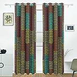 JSTEL Traditionelle Afrikanische Ornament Vorhänge Panels Verdunklung Blackout Tülle Raumteiler für Terrasse Fenster Glas-Schiebetür Tür 139,7x 213,4cm, Set von 2