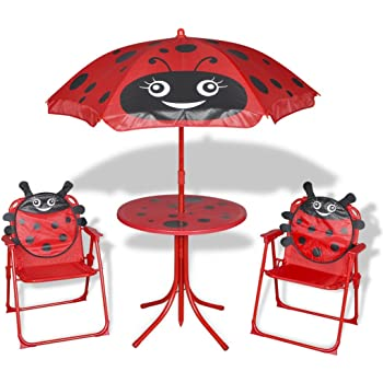 vidaxl 4tlg campingstuhl tisch sitzgruppe sonnenschirm kinder gartenm bel k fer. Black Bedroom Furniture Sets. Home Design Ideas