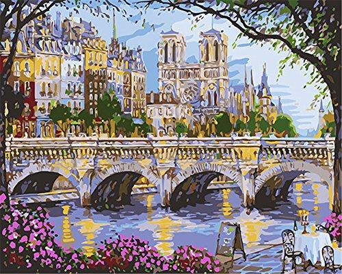 """CaptainCrafts Nouvelle peinture par numéros 16x20"""" pour les adultes, enfants toile - France Amour, Ville Pont en arc (Avec cadre)"""