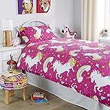 LNB bambini unicorno celeste/rosa/grigio, in policotone set copripiumone/con Macthing guanciale disponibile in tutte le dimensioni, Pink, Singolo