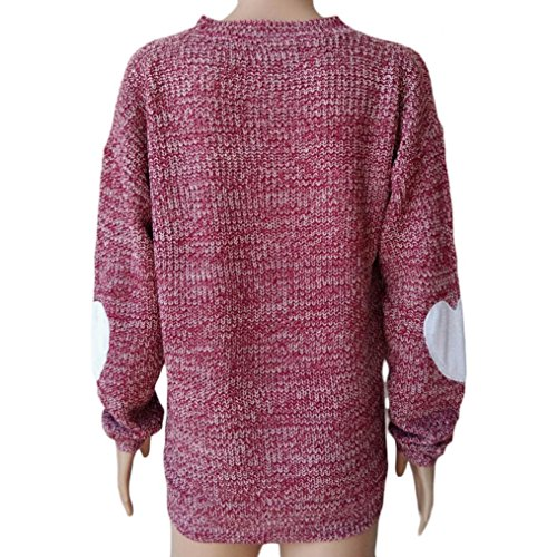 Koly Pull Tricoté Femme V Neck Casual Chandail Chemisier manches longues Cœur de Split Pull tricoté Tops en vrac Rouge