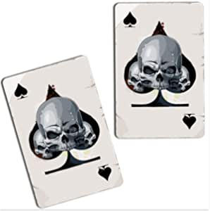 Skinoeu 2 Stück Vinyl Aufkleber Autoaufkleber Spielkarten Pik Karten Poker Skull Schädel Totenkopf Funny Stickers Auto Moto Motorrad Fahrrad Helm Fenster Tür Tuning B Auto