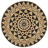 Nishore Tapis Rond Salon Jute | Tapis de Décoration | Tapis de Salon Fait à La Main avec Motif Floral Moderne Noir Diamètre 120 cm Naturel