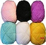 #1: Vardhman Bunny Mix 4 Wool Ball Hand Knitting Wool/Art Craft Soft Fingering Crochet Hook Yarn, Needle Acrylic Knitting Yarn Thread Dyed