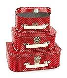 Egmont Toys Kinder-Kofferset, Spielkoffer, Spielzeugkoffer, 3-teilig, Motiv: rot mit Punkten, ca. 20 x 25 x 29 cm