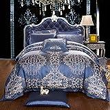 Orifashion bssisa018Marino Azul barroco teñida Jacquard 100% seda de ropa de cama Sets, seda, azul, 200 x 220 cm