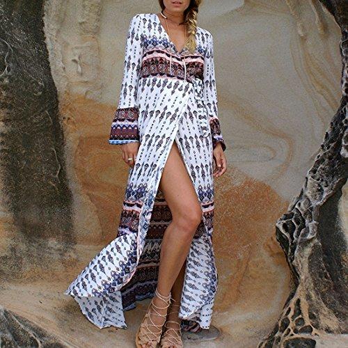 QIYUN.Z Frauen V-Ausschnitt Böhmischen Reich Taille Strand Sundress Maxi Wrap Kleid Deckung Weißer Kaffee