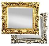 Wandspiegel Antik / Barock Spiegel Gold 60x70cm mit Facettenschliff, Vintage Antik Rahmen Look Handarbeit Massiv