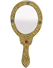 Hand Mirror in Metal in Oval Shape Golden Finish by Handicrafts Paradise
