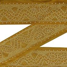 Vintage Bordado amarillo Sari Border usados india de costura de encaje de la cinta