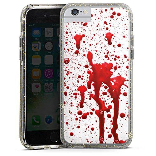 Apple iPhone 8 Bumper Hülle Bumper Case Glitzer Hülle Blood Blut Halloween Bumper Case Glitzer gold