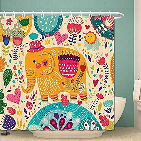 Elephants Decor Collection Elephant with Colorful Pattern Child Art Hats Flowers Plants Leaves Summertime Image Polyester Fabric Bathroom Shower Curtain Set with Hooks Orange