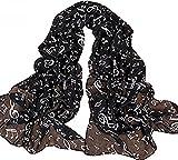 Da.WA Light weight Summer Music sciarpa chiffon lunga sciarpa Wrap scialli per donne ragazze Black