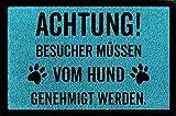 Interluxe FUSSMATTE Türmatte Achtung BESUCHER Hund Hundematte Geschenk Bodenmatte (Türkis, Flor)