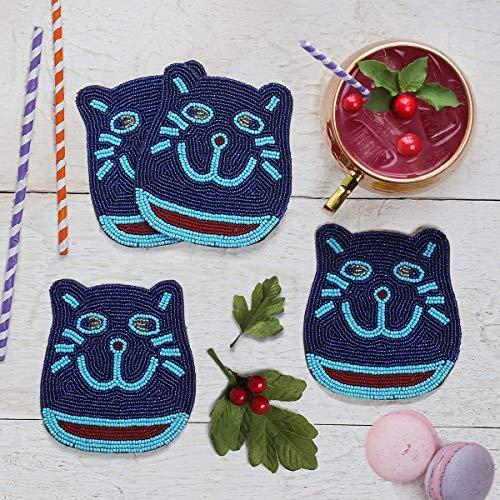 Perlen getränk Untersetzer Tee Kaffeetasse Beaded Coasters Tisch Barware Drink Set von 4 handgeschnitzten verspielt Perlen Kitty geformt Kinder Esszimmer Accessoires Wohnkultur -