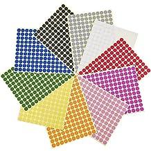 3/8 Pulgadas Etiquetas de Codificación Redondo Pegatinas de Puntos de Color,10 Colores Diferentes,10 Hojas